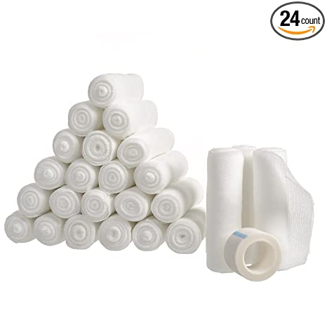 "24 Gauze Bandage Rolls with Medical Tape, Stretch Bandage Roll, 4"" x 4 Yards Stretched, FDA Approved, Medical Grade Sterile First Aid Wound Care, Dressing, by California Basics"