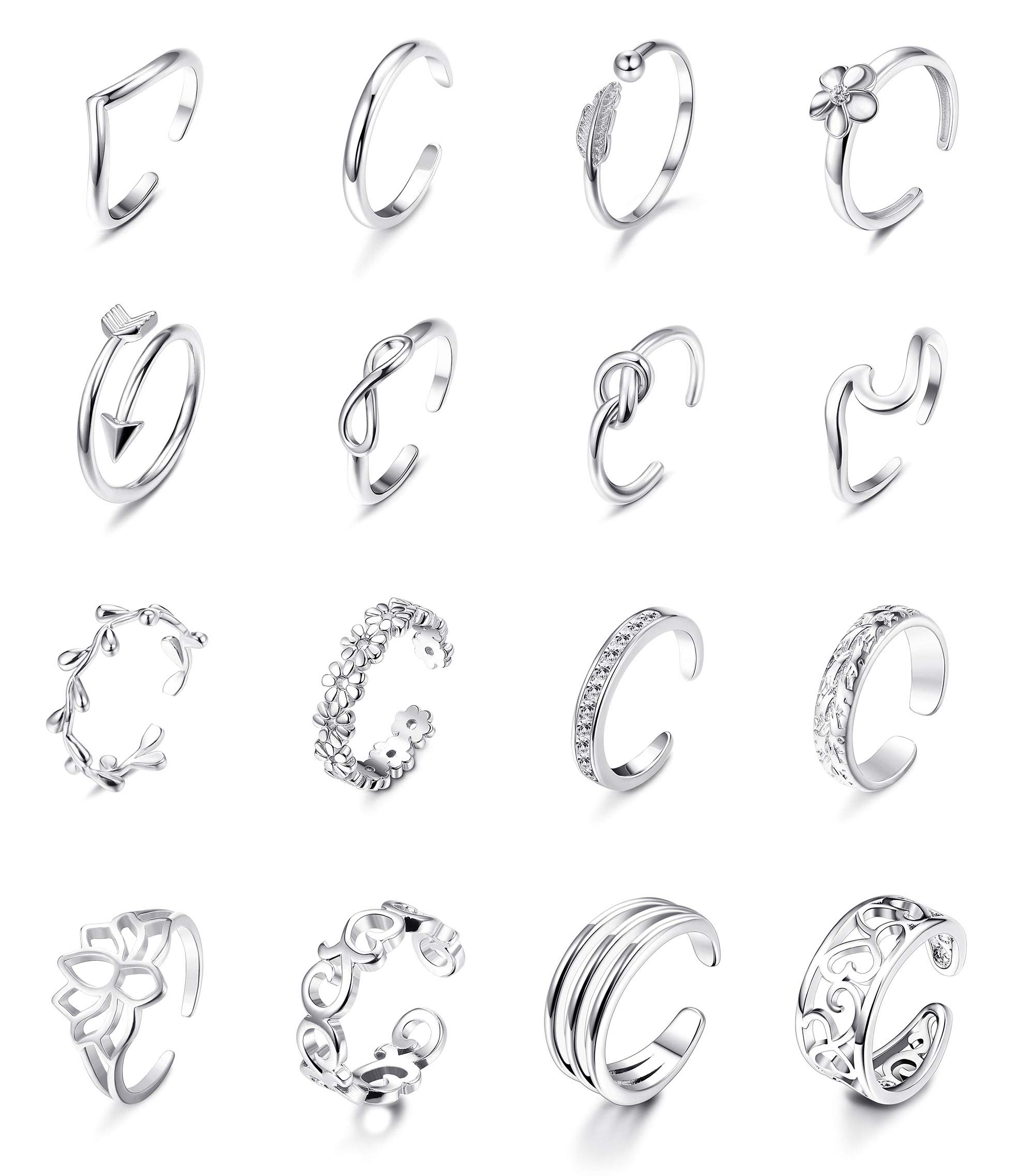 Jstyle 16Pcs Adjustable Toe Rings for Women Various Types Band Open Toe Ring Set Gold Silver Tone Hawaiian Foot Gift Jewelry