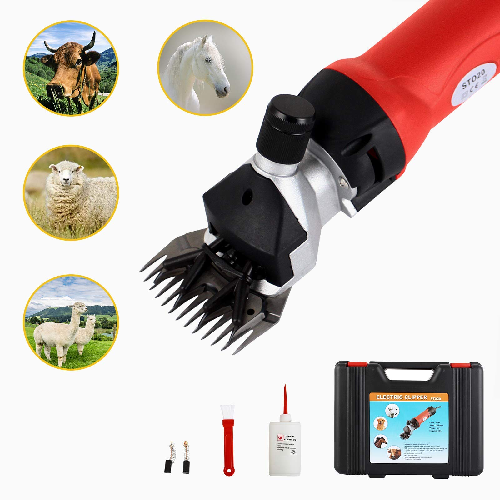 SUNCOO Professionnal Sheep Shears 350W, Farm Electric Clippers for Goats, Alpaca, Llamas, Horse,Cattle, Large Dog Farm Livestock,Heavy Duty Potable Animal Hair Fur Grooming Cutter (Red) by SUNCOO