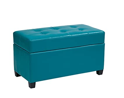 Office Star Metro Vinyl Storage Ottoman with Espresso Finish Legs Blue  sc 1 st  Amazon.com & Amazon.com: Office Star Metro Vinyl Storage Ottoman with Espresso ...