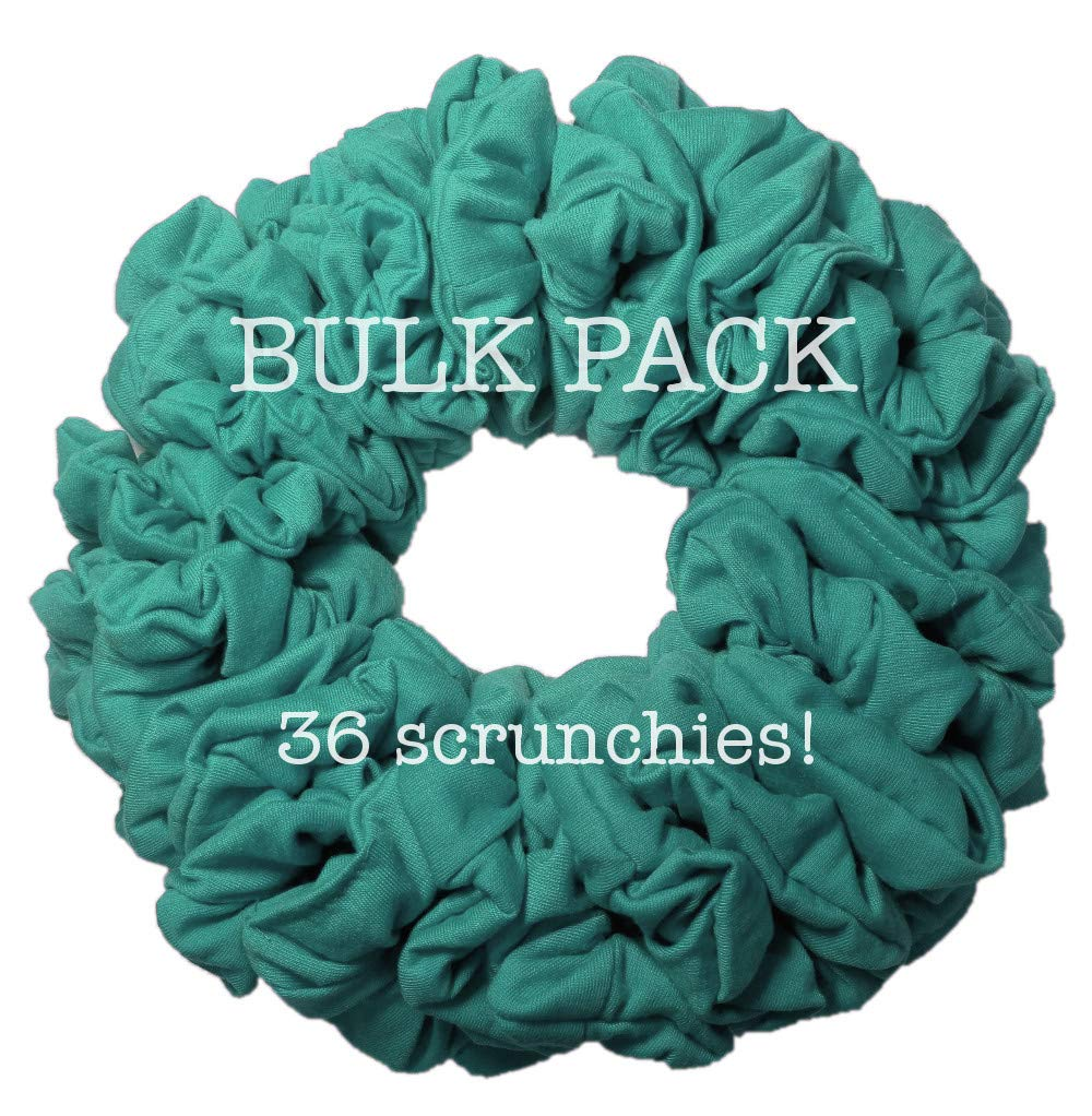 36pc Bulk Cotton Scrunchies by the Color, wholesale scrunchie pack, team color scrunchy hair tie packs (Teal) by Threddies