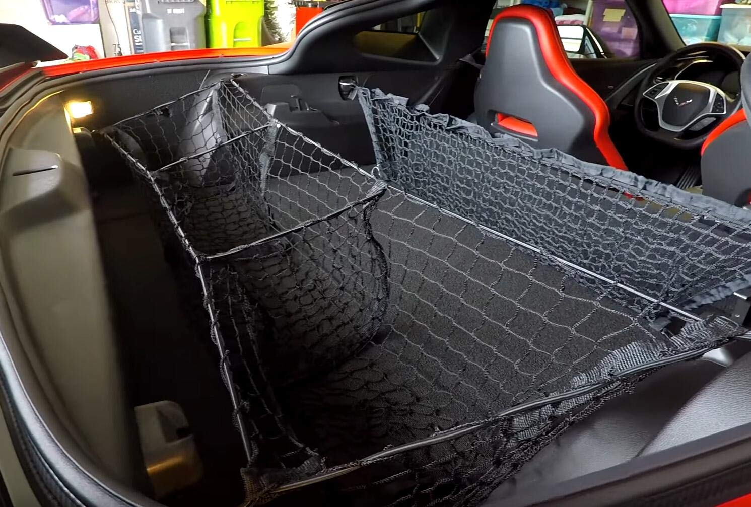 per bagagliaio furgoncino Tasca organizer in rete 9 MOON a tre sezioni