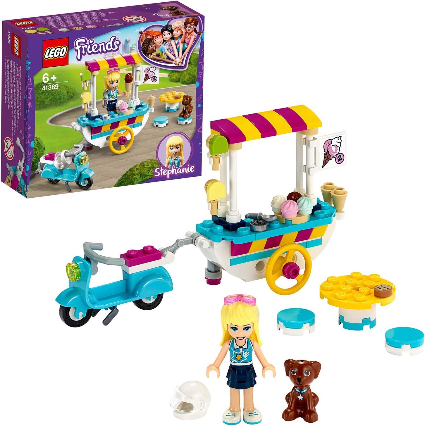 LEGO Friends - Heladería Móvil, Set de Construcción de Carrito para Vender Helados y Dulces, Incluye Muñeca de Stephanie, Dash el Perro y una Moto Scooter Azul (41389): Amazon.es: Juguetes y juegos