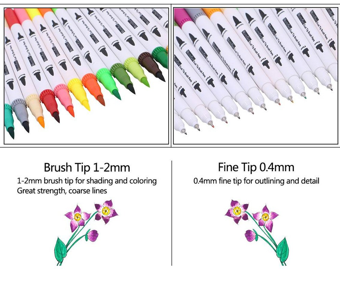 60 Dual Tip Brush Pens Art Markers,MontoSun Coloring Marker Pens Fine Liners and Brush Tip Colored Pen for Adult Drawing Sketching Painting by MontoSun (Image #3)