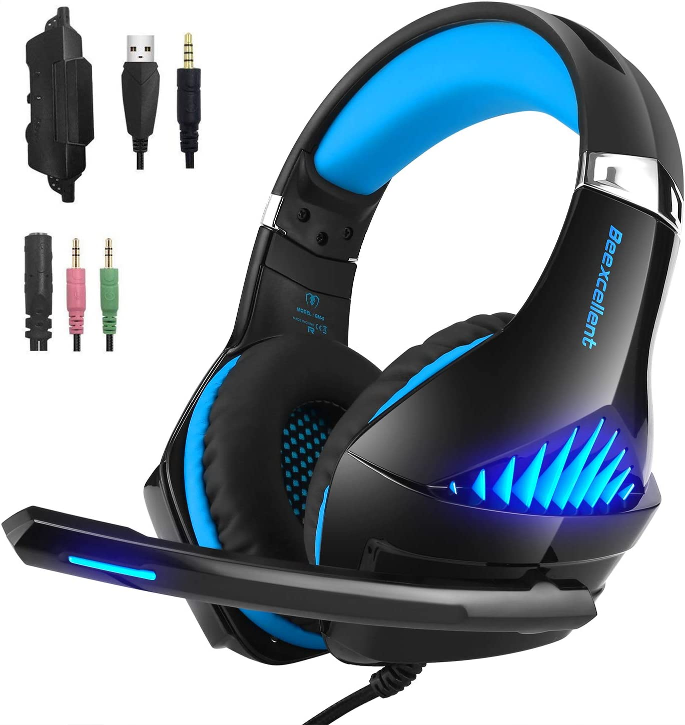 Gaming Headset Compatible Xbox One PS4, Fuledture Headset with Mic, PC,Noise Cancelling Over Ear Headphones with LED Light Bass Surround Soft Memory Earmuffs