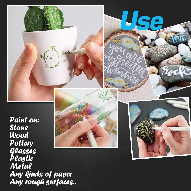 Pittura su Roccia Vetro DIY Album Fotografico Ceramica Pennarelli Metallici 10 Colori Metallic Marker Penne per Realizzare Cartoncini Metallo