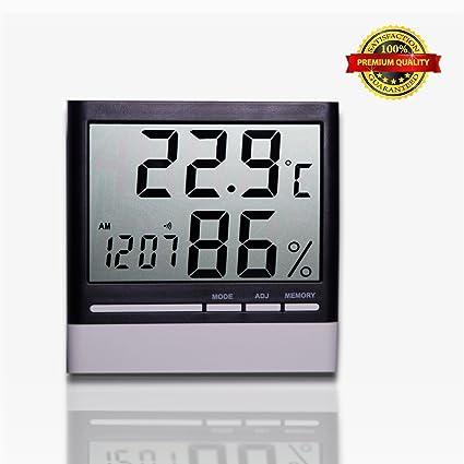 Termómetro higrómetro, medidor digital de humedad, multifuncional medidor de temperatura con alarma reloj,