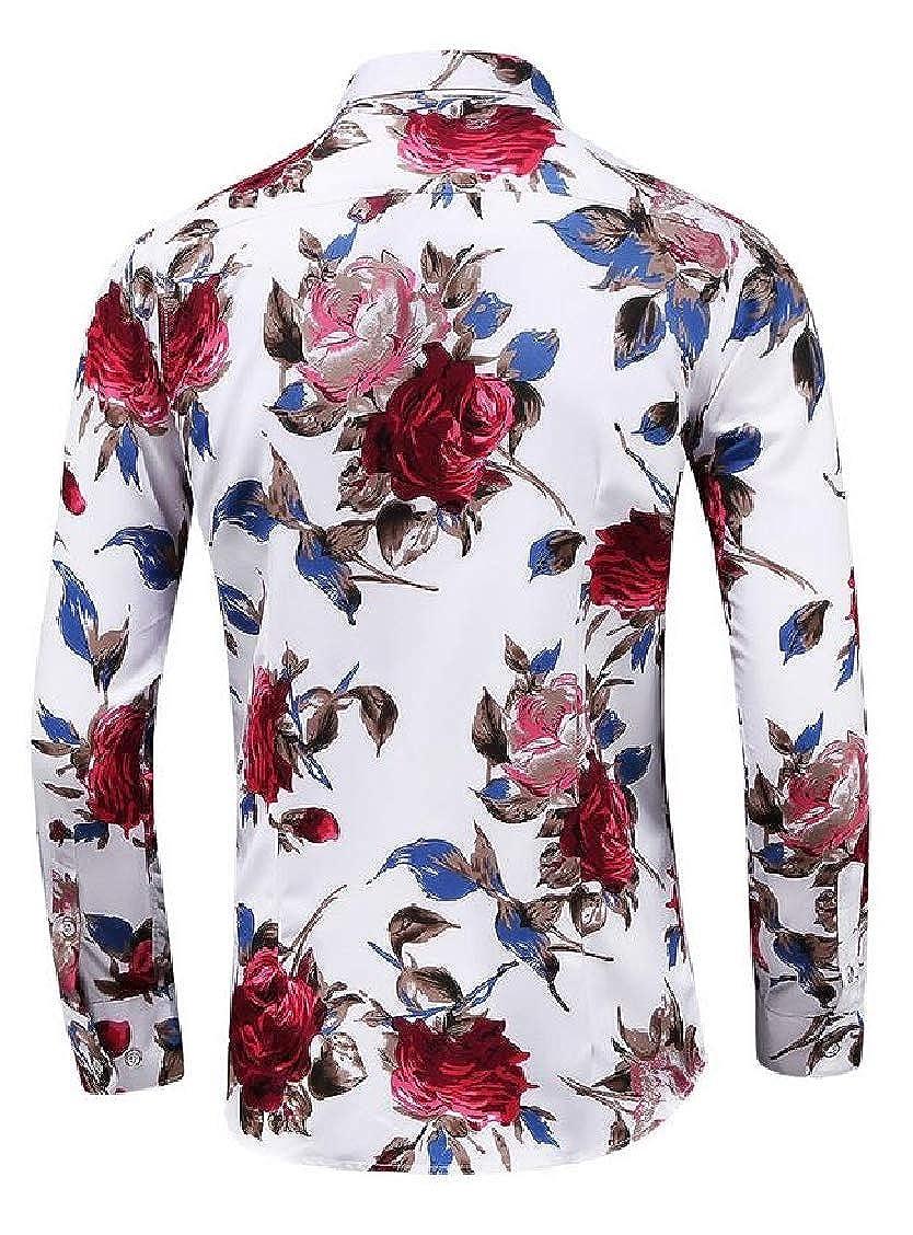 Hajotrawa Mens Turn Down Print Classical Floral Long Sleeve Button Front Shirts