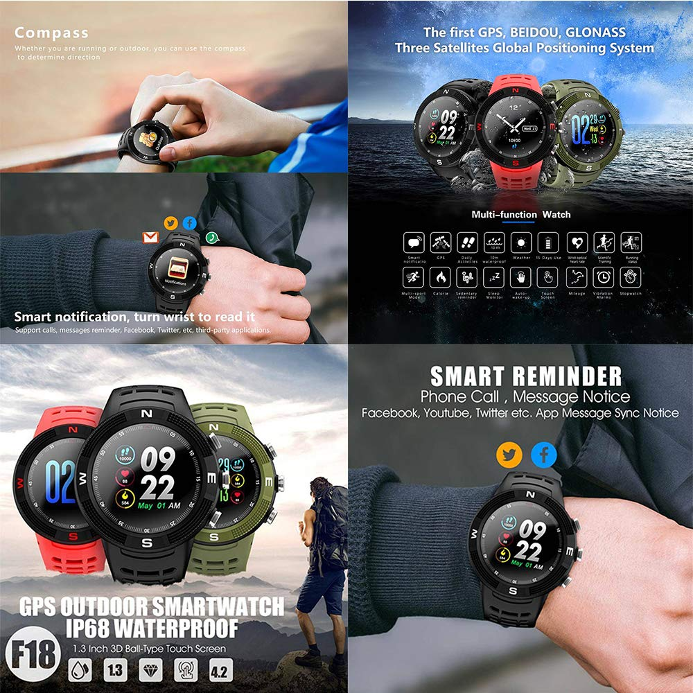 OOFAYWFD GPS Sports Smartwatch Bluetooth 4.2 IP68 ...