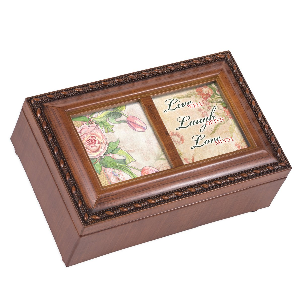 Cottage Garden Live Well Laugh Often Love Woodgrain Rope Trim Jewelry Music Box Plays Wonderful World