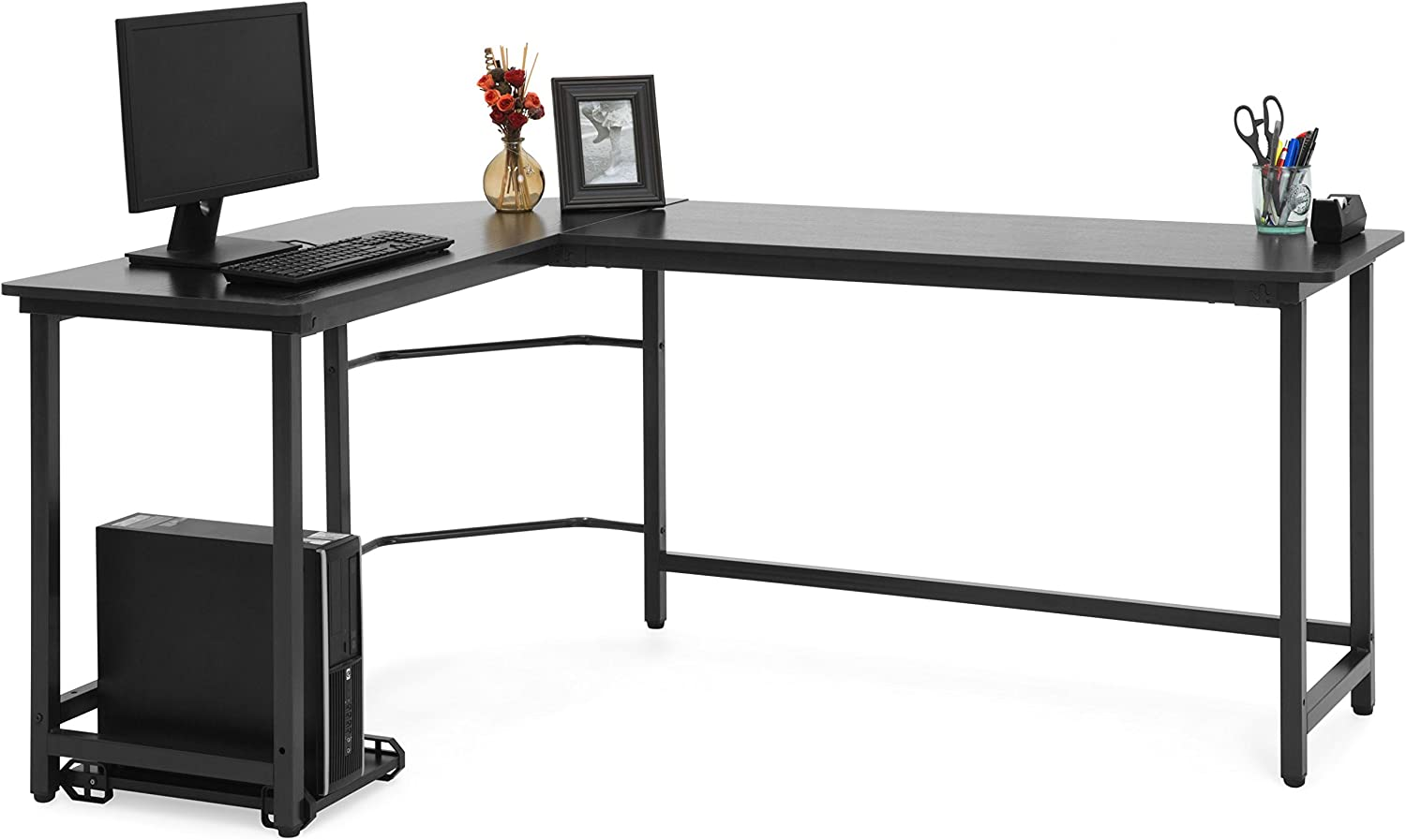 Best Choice Products Modern L-Shaped Corner Desk w/CPU Stand - Black