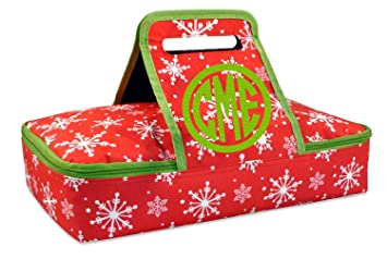 Personalized Monogrammed Insulated Casserole Carrier Red And Green Christmas Snowflake