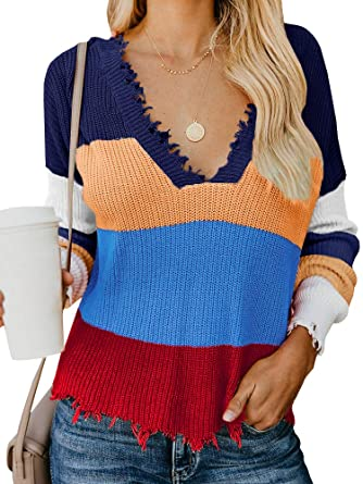 9f6292172 Amazon.com  Womens Loose Ripped Sweater V-Neck Color Block Rainbow Knit  Pullovers Crop Top  Clothing