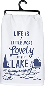 Primitives by Kathy 104268 LOL Made You Smile Dish Towel, 28 x 28-Inches, Lovely at The Lake