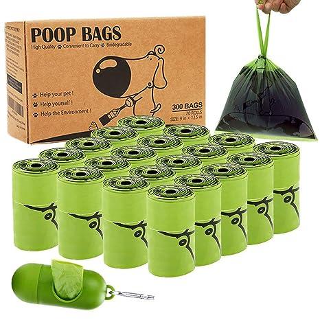 BINGPET Bolsas de Perro biodegradables perfumadas con Asas Rollos de Recambio – Bolsa de residuos para