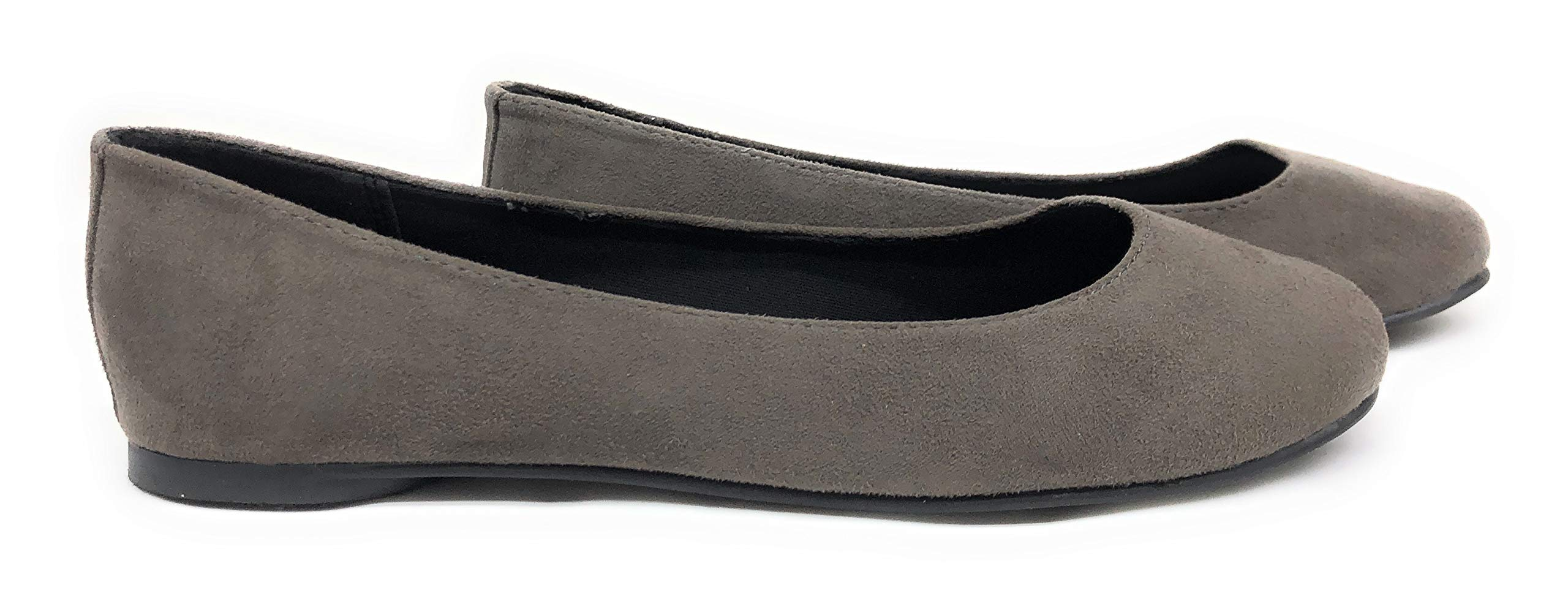 Soda Womens Round Toe Ballet Flat Shoes Charcoal 7