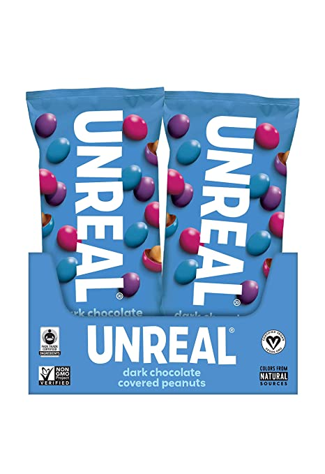 UNREAL dark chocolate candy, vegan M&Ms