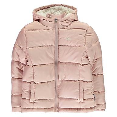 Lee Cooper Kids Girls 2 Zip Bubble Jacket Padded Coat Top Mock Neck Lightweight Dusky Pink