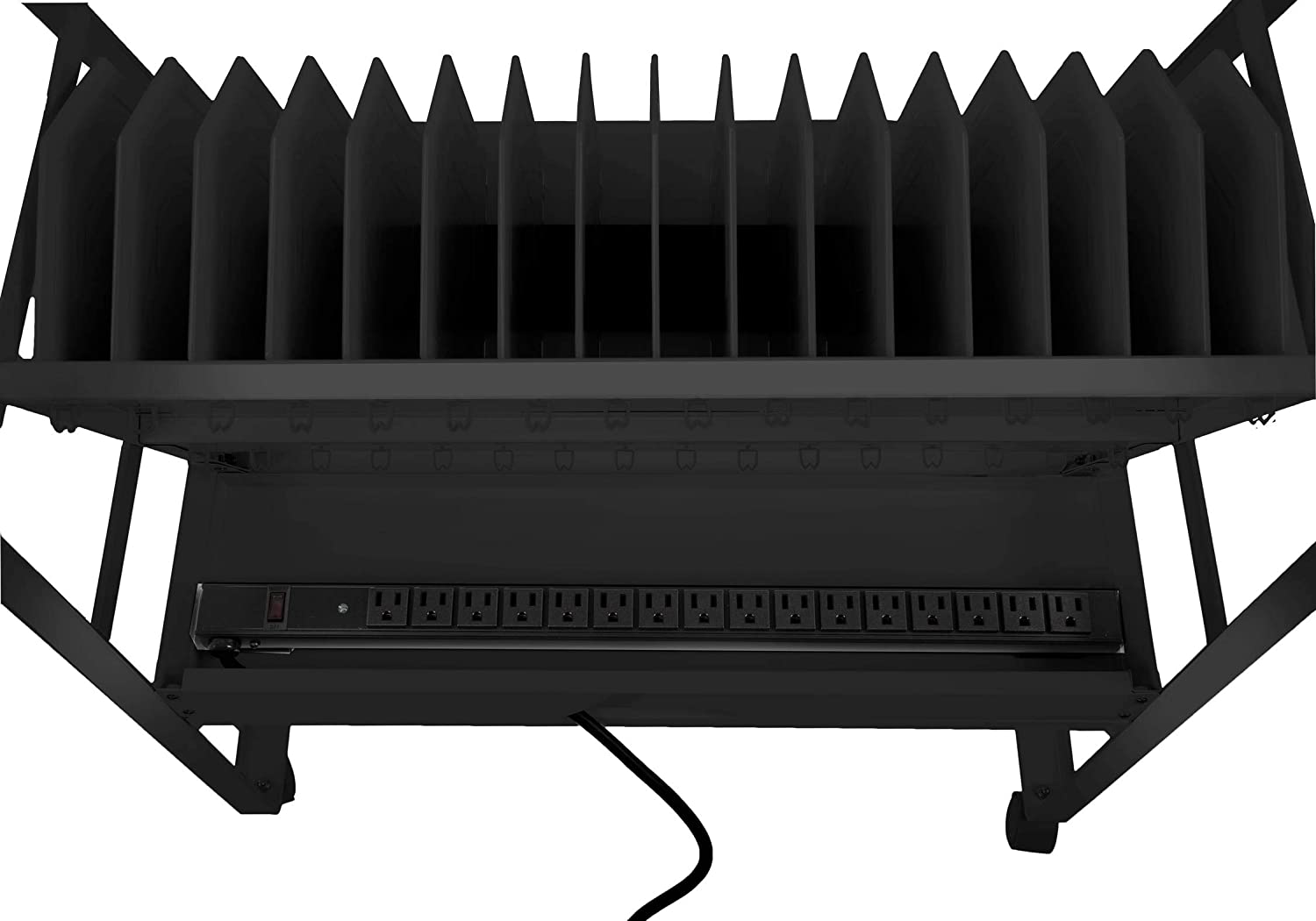 Laptops or Chromebooks? ?16-Outlet Power Strip?with Surge Protection/ ?For?School,?Classroom?/& Library? Line Leader?16 Unit Mobile Charging?/&?Storage Cart? ?Open Charging Cart Holds Tablets Black