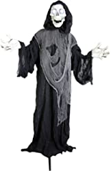 Halloween Haunters Animated Standing Life Size Strobe Skull Reaper Prop Decoration - 5' Tall, Evil Eyes & Skeleton Light Up - Battery Operated