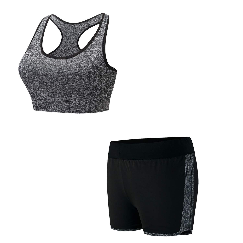 BOTRE 5 Pezzi Tute da Ginnastica Donna Tute Sportive Yoga Fitness Palestra Running Jogging Completi Sportivi Abbigliamento