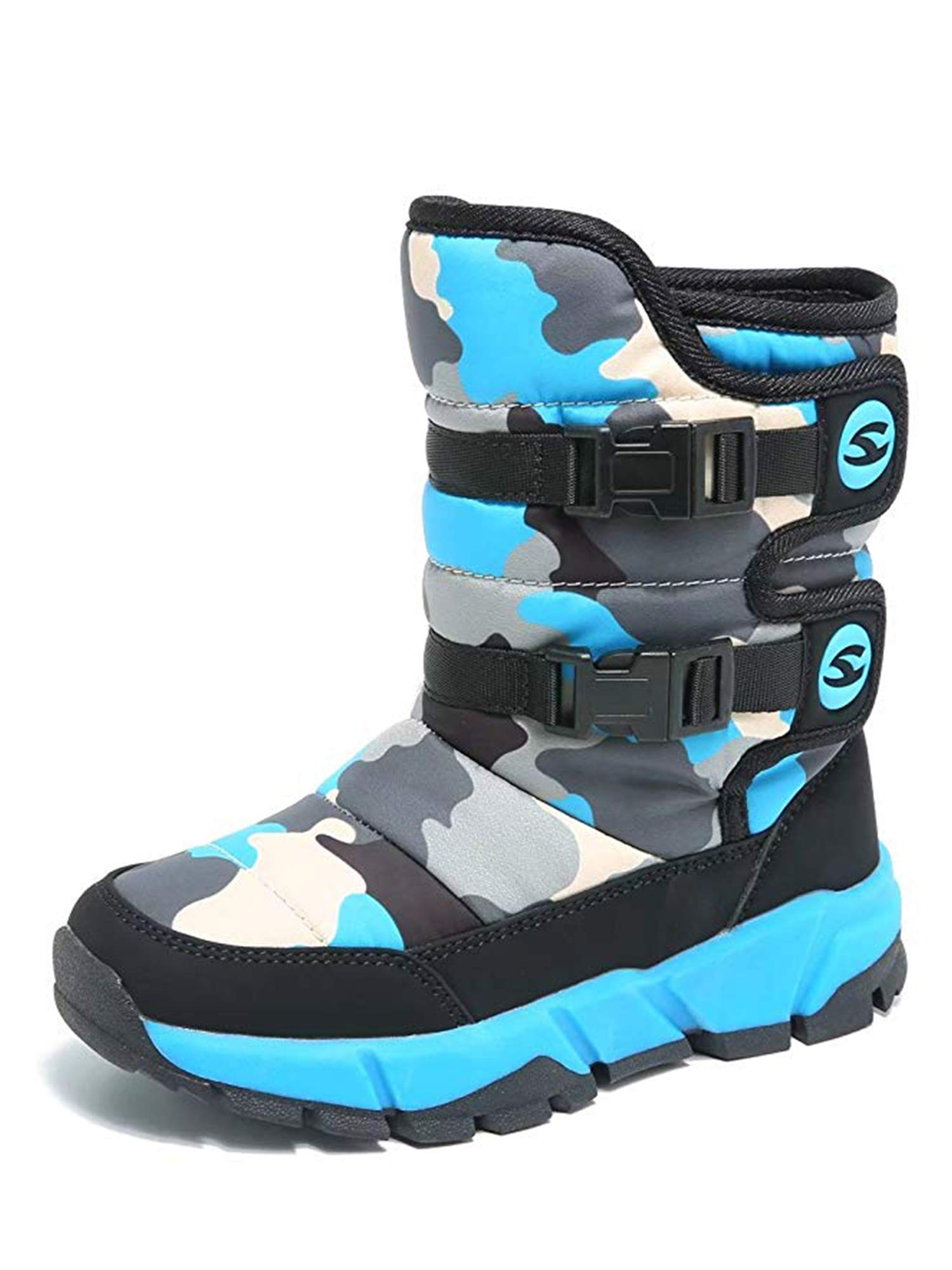 Snow Boots for Boys and Girls Waterproof Warmth Outdoor Winter Shoes(13) Blue
