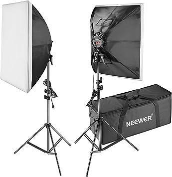 Neewer Kit de Iluminación- 50x70-centímetro Caja de Luz, Soporte de Luz, 4-Enchufe Soporte de Luz, 8 Bombillas y Bolsa de Transporte para Fotografía de Producto,Estudio de Foto y Grabación de Vídeo: Amazon.es: