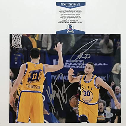 online store b1166 ce088 Autographed/Signed Stephen Steph Curry & Klay Thompson ...