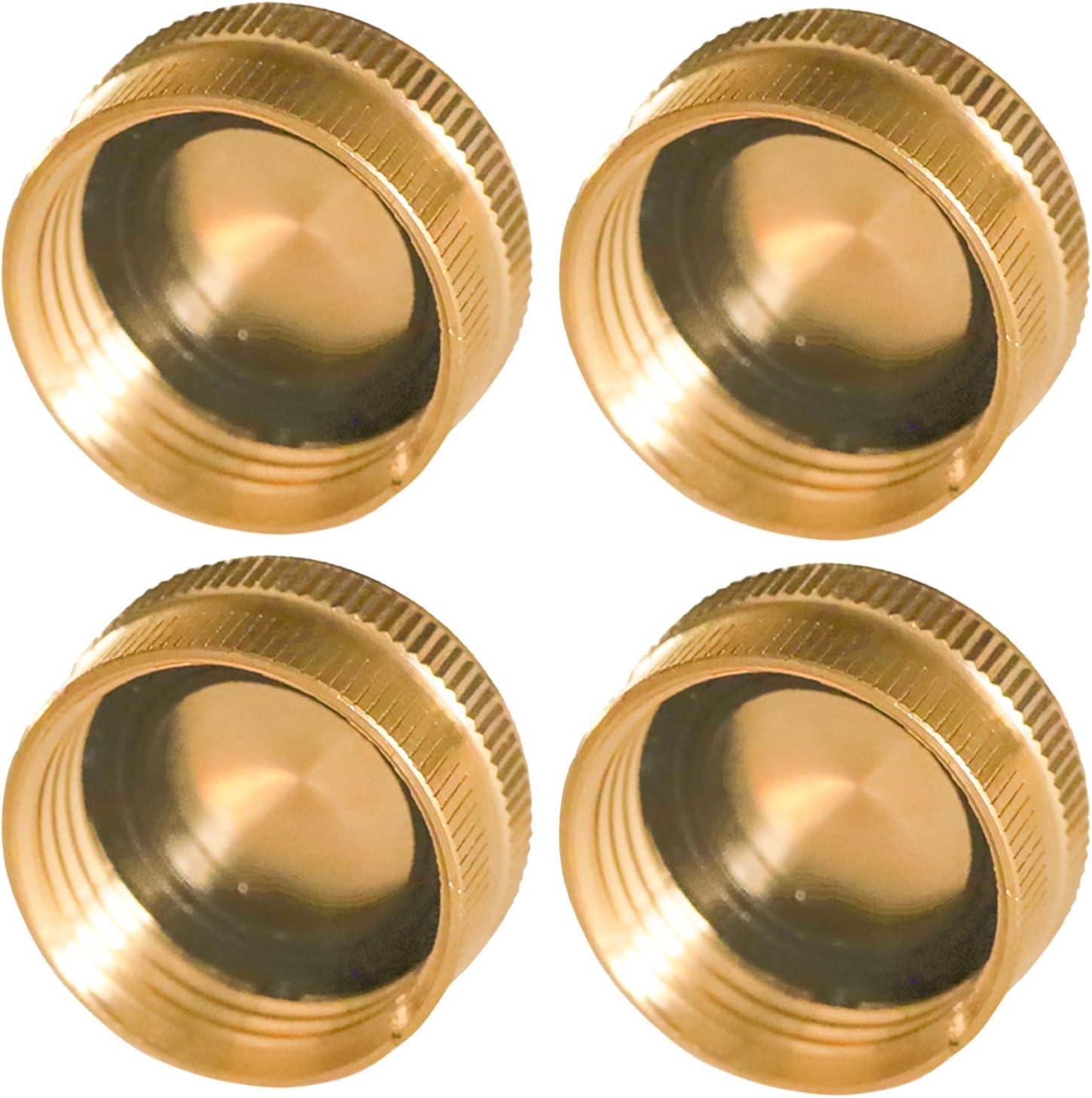 Hourleey Brass Garden Hose End Caps, 4 Pack 3/4