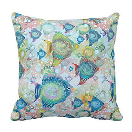 Amazon TORASS Throw Pillow Cover Sea Tropical Fish Marine Mesmerizing Coastal Throw Pillow Covers