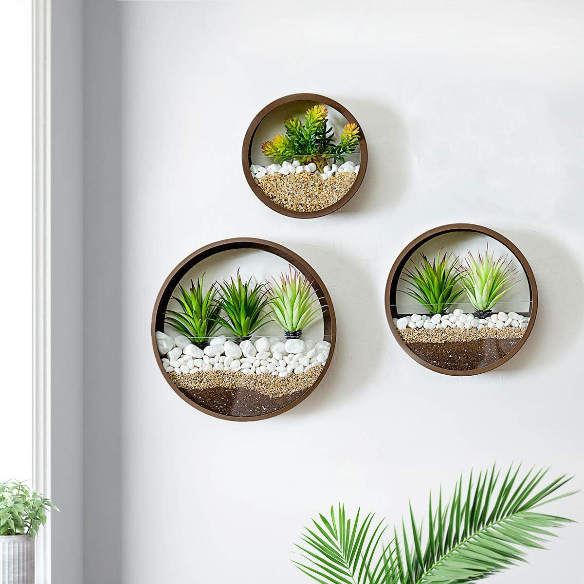 Round Hanging Wall Planters Metal Plant Containers Contemporary Morden Circle Iron Vase for Succulents or Herbs - Perfect Wall Decor for Air Plants Faux Plants Cacti and More, Brown (Mixed)