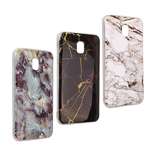 Galaxy J5 2017 Marmor Handyhülle, Asnlove 3 Pack Premium TPU Silikon Marble Hülle Protective Back Case TPU Silicone mit 3D Mu