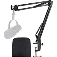 Shure MV7 Boom Arm with Pop Filter - Mic Stand with Foam Cover Windscreen Compatible with Shure MV7 Microphone by…