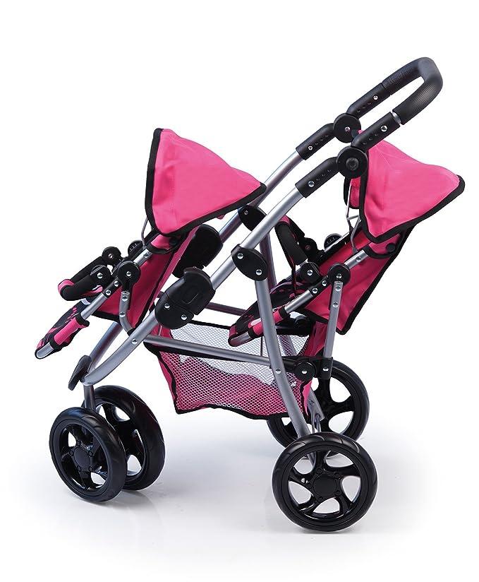 Amazon.es: Bayer Design - Cochecito de muñeca para los gemelos Twin Jogger, color negro y fucsia (22486): Juguetes y juegos