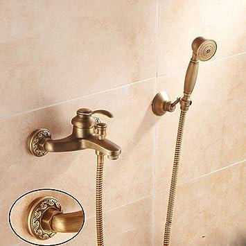 Antique Copper Bathtub Faucet Shower Bathroom Faucet Cold And Hot