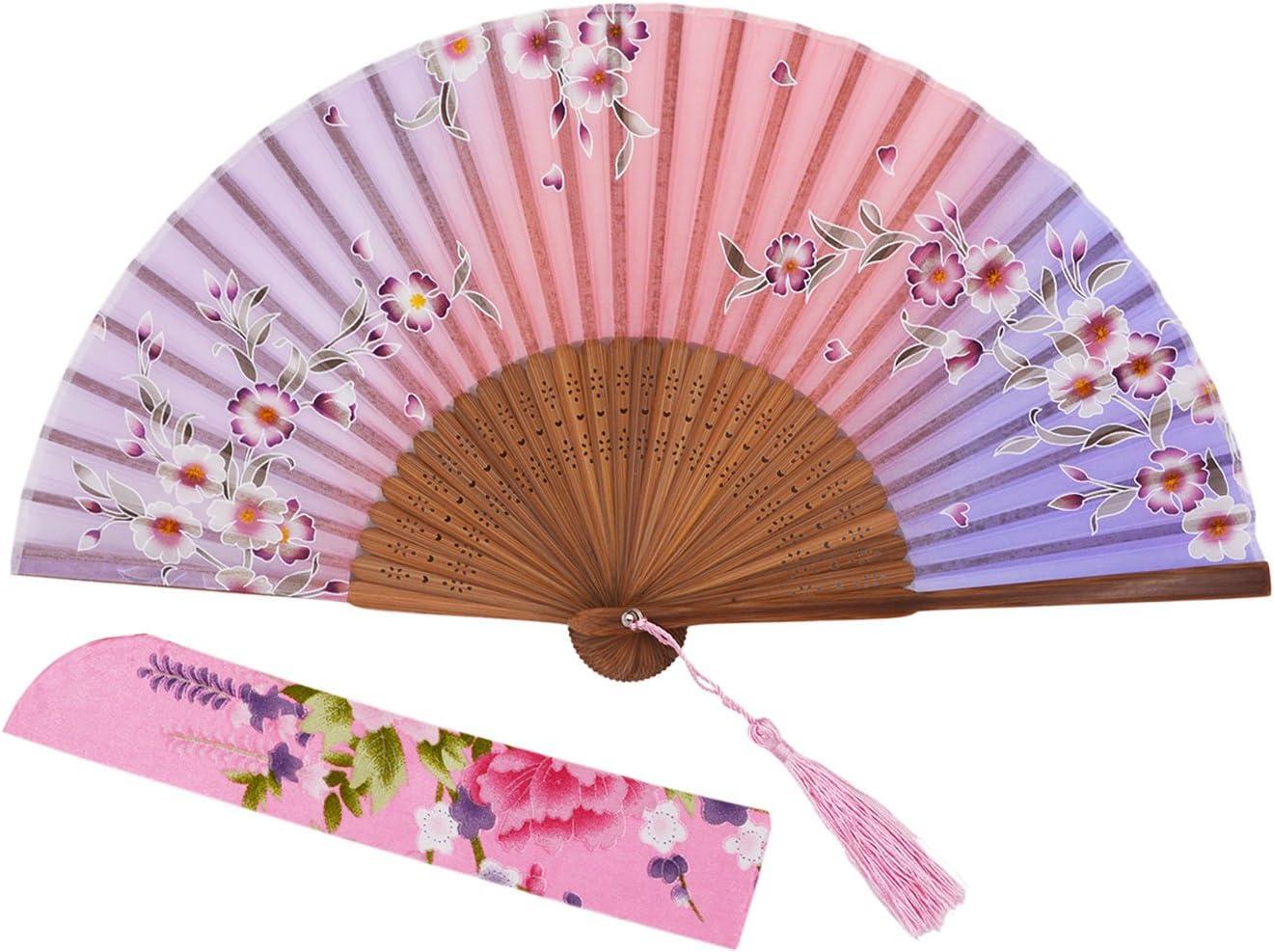 meifan Chinese/Japanses Classical Handmade Vintage Folding Bamboo Silk Flower Pattern Hand Fan MFN (PinkPurple)