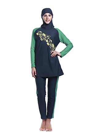 0d42ec255e9a4 Amazon.com: Women Muslim Swimwear Full Coverage Islamic Modest Swimsuit 3  Pieces Full Body with Hijab Sun Protection: Clothing