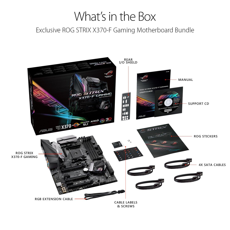 ASUS ROG Strix X370-F GAMING AMD Ryzen AM4 DDR4 HDMI DisplayPort M.2 ATX X370 Motherboard with USB 3.1