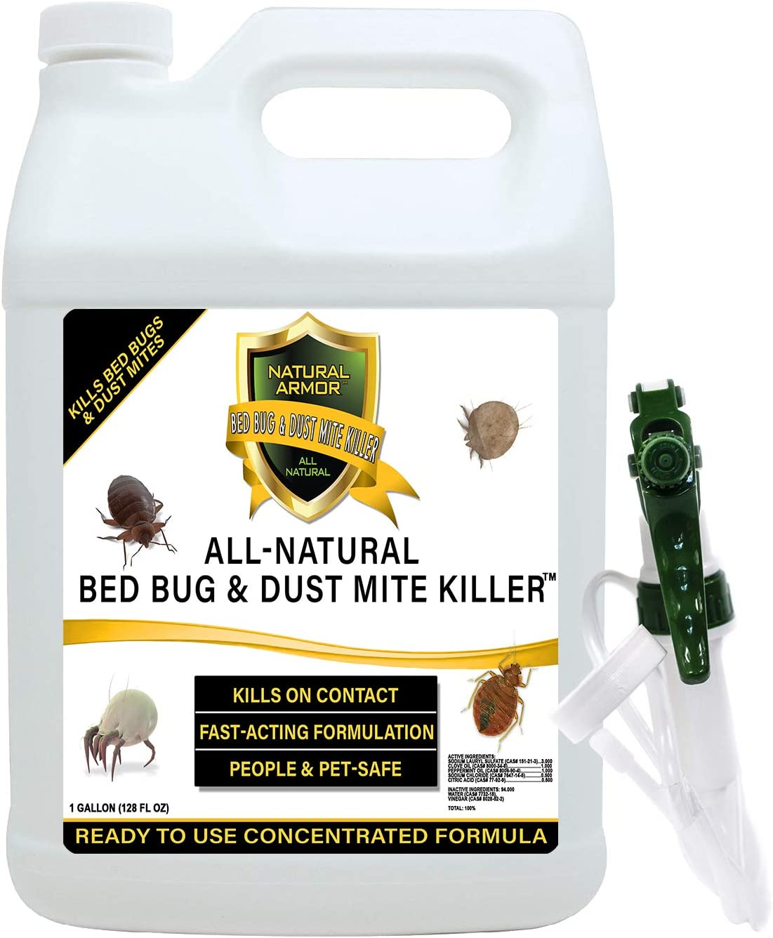 Bed Bug & Dust Mite Killer Natural Spray Treatment for Mattresses, Covers, Carpets & Furniture - Fast Extended Protection. Pet & Kids Safe - No Toxins or Chemicals 128 oz Gallon