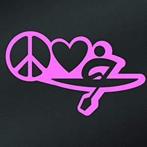 Peace Love Kayak Vinyl Decal Sticker | Cars Trucks Vans Walls Laptops Cups | Pink | 7 X 4.2 Inch | KCD1634P