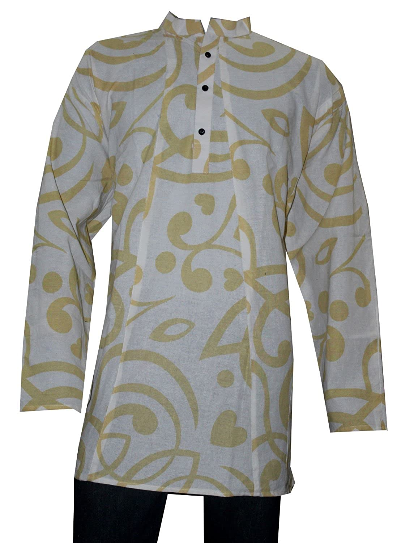 Lakkar Havali Indian 100/% Cotton Men/'s Shirt Round Print Loose Fit Shirt Kurta White Color