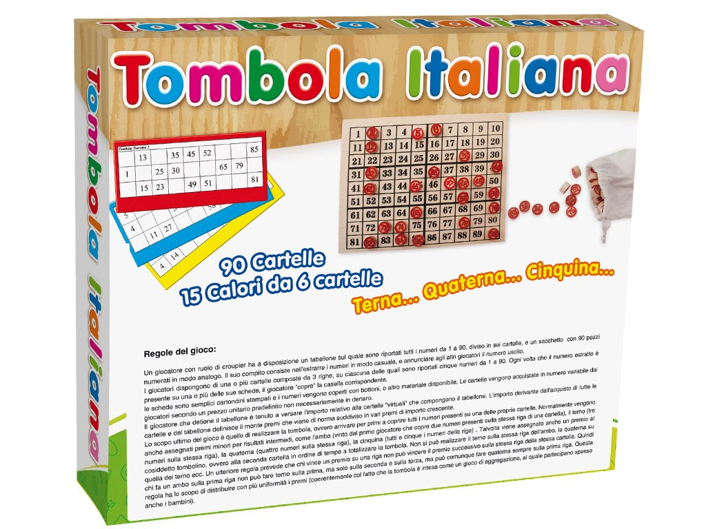 Teorema 40423 Gioco Tombola Tabellone In Legno 90 Cartelle