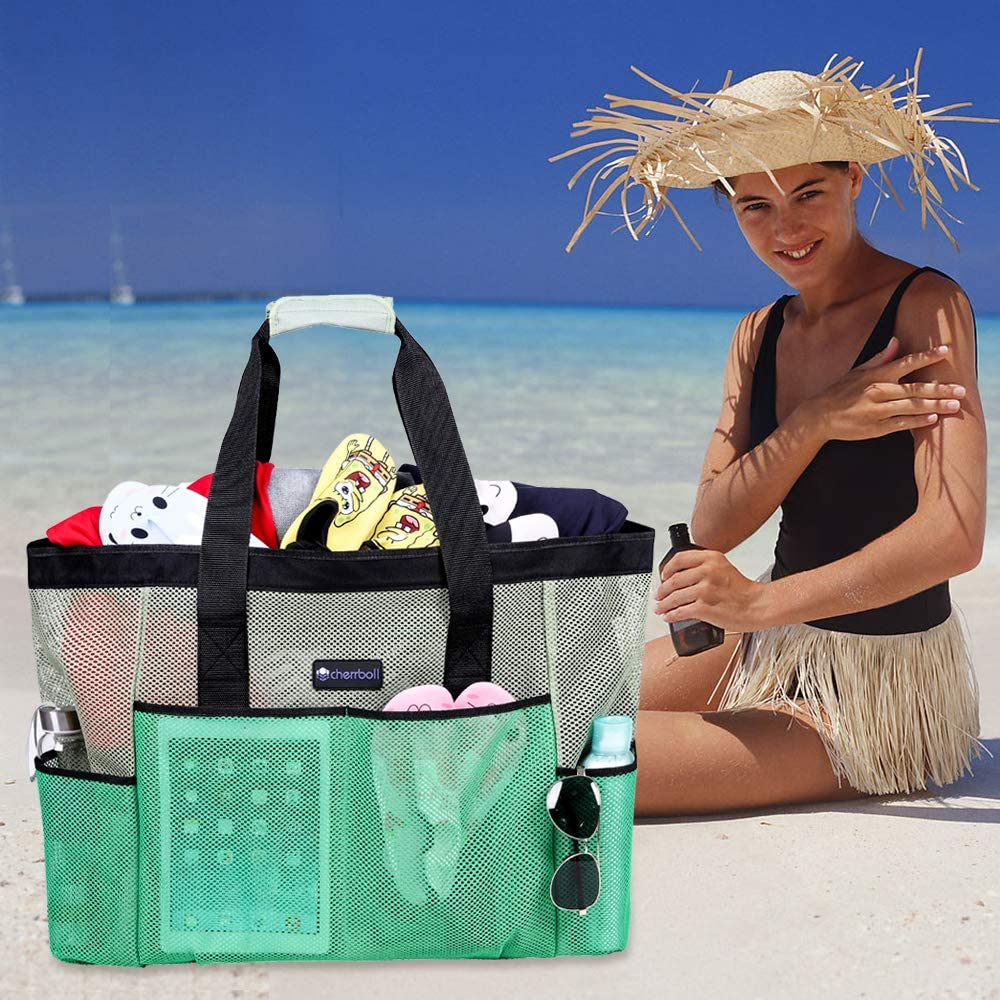 OOSAKU Mesh Beach Tote Bag with Large Pockets Zippers Portable Outdoor Travel Bags Blue, XL