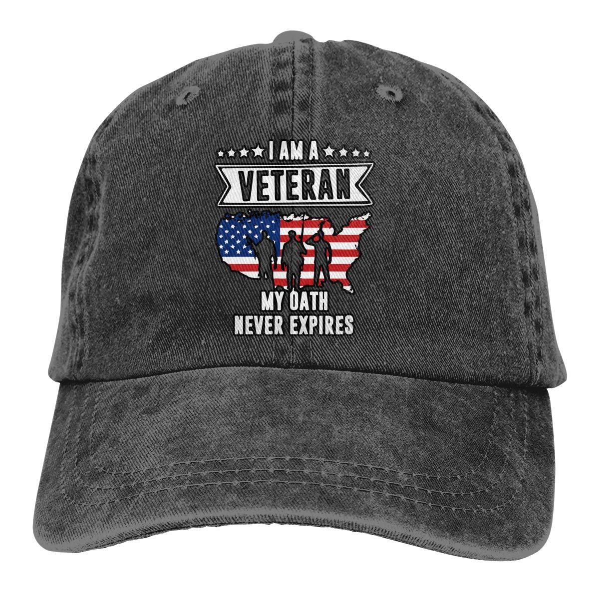 Men Women Washed Cotton Denim Baseball Cap I Am A Veteran Headwear