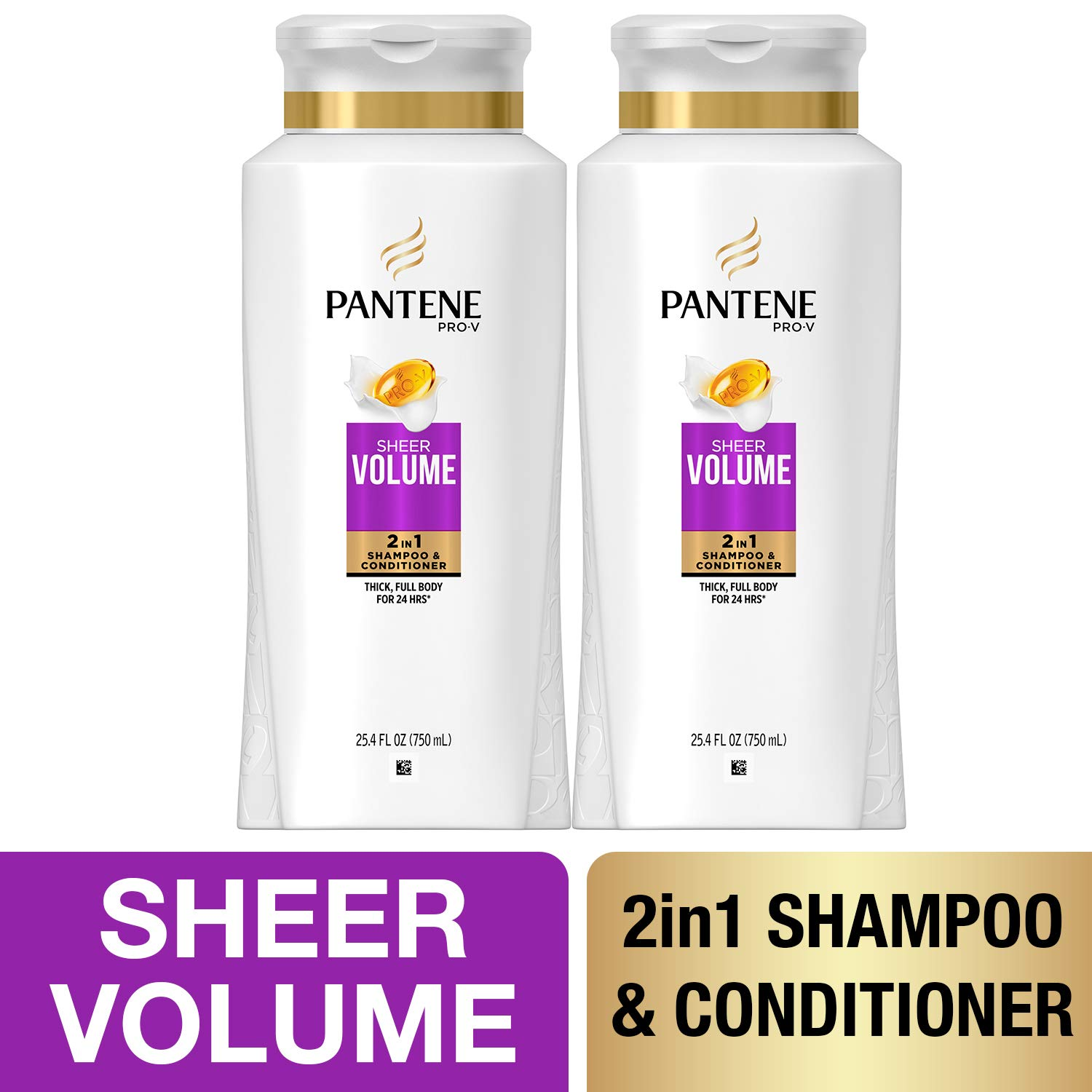 Pantene, Shampoo and Conditioner 2 in 1, Pro-V Sheer Volume for Fine Hair, 25.4 fl oz, Twin Pack