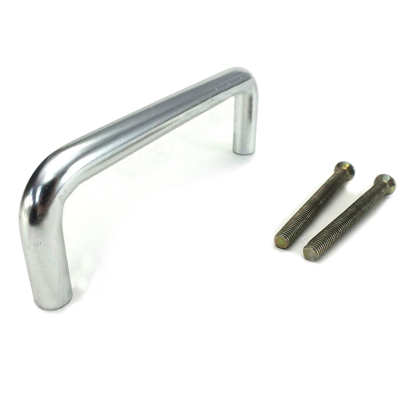 2x 96mm Matt Chrome Bow Handle Bar Door Drawer Handle Wardrobe Cupboard