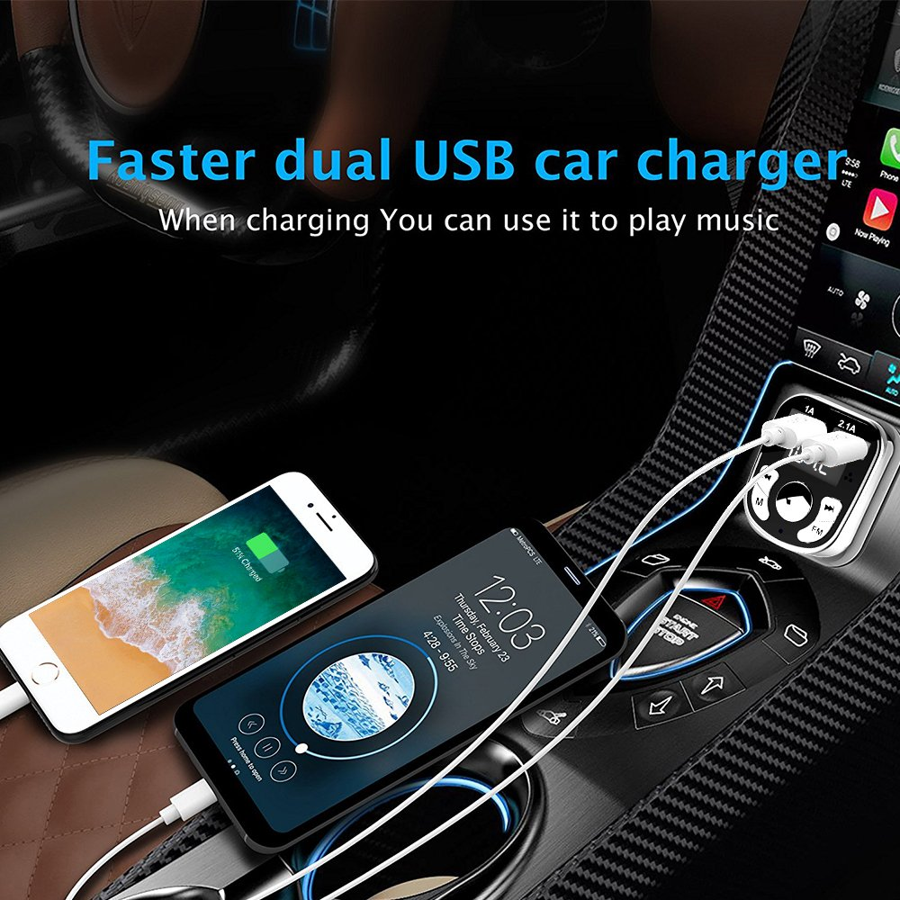 Niukamo Bluetooth FM Transmitter for Car Blue Tooth Receiver Charger MP3 Player In-Car Quickly Charging Wireless Stereo Radio Adapter Kit Hands Free Calling Dual USB Ports Charge 5V (FM TRANSMITTER) by Niukamo (Image #6)