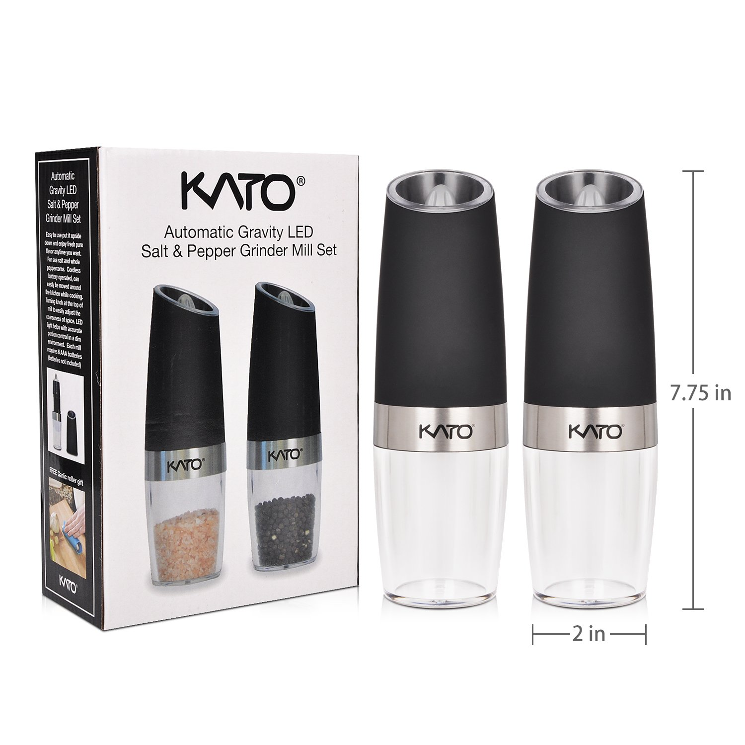 Kato Gravity Electric Salt and Pepper Grinder Set of 2 - Automatic Operation, Battery Powered, Blue LED Light - Adjustable Ceramic Grinding Coarseness Mills with Free Garlic Peeler, Black