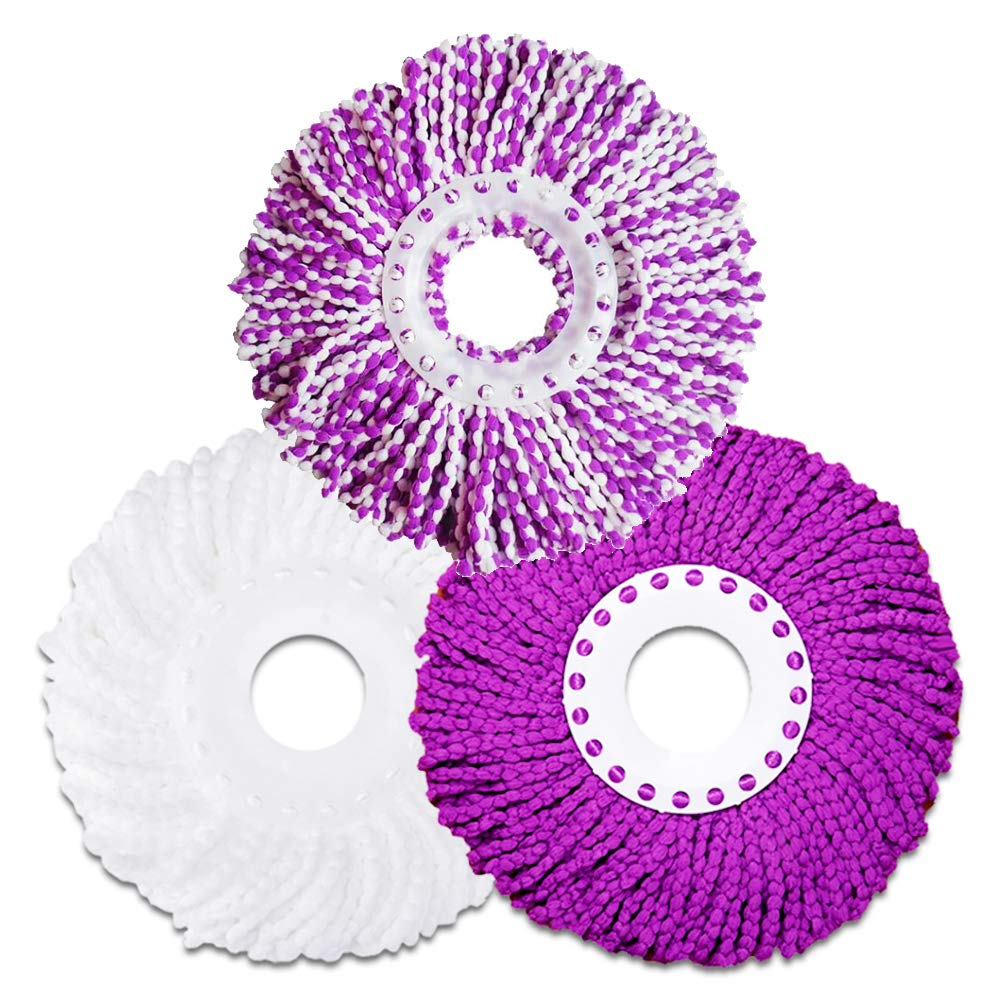 Microfiber Cotton Replacement Mop Head - 3 Pack Refills Compatible With 360° Magic Spin Mops - Round Shape Standard Size Multicolor Removable Accessories LEMNUY