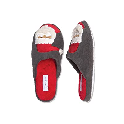 PajamaGram Holiday Santa Slippers with Non-Skid Soles, Gray, (6-7) | Slippers